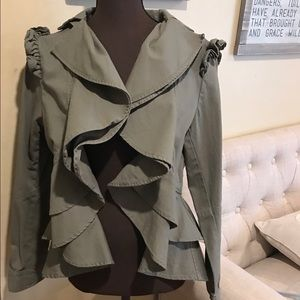 Anthro's Guest Editor Ruffle Utility Jacket FIRM